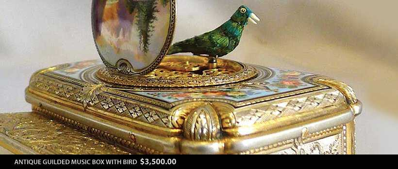 Music Box Guilded Bird We Antiques In Tampa Florida