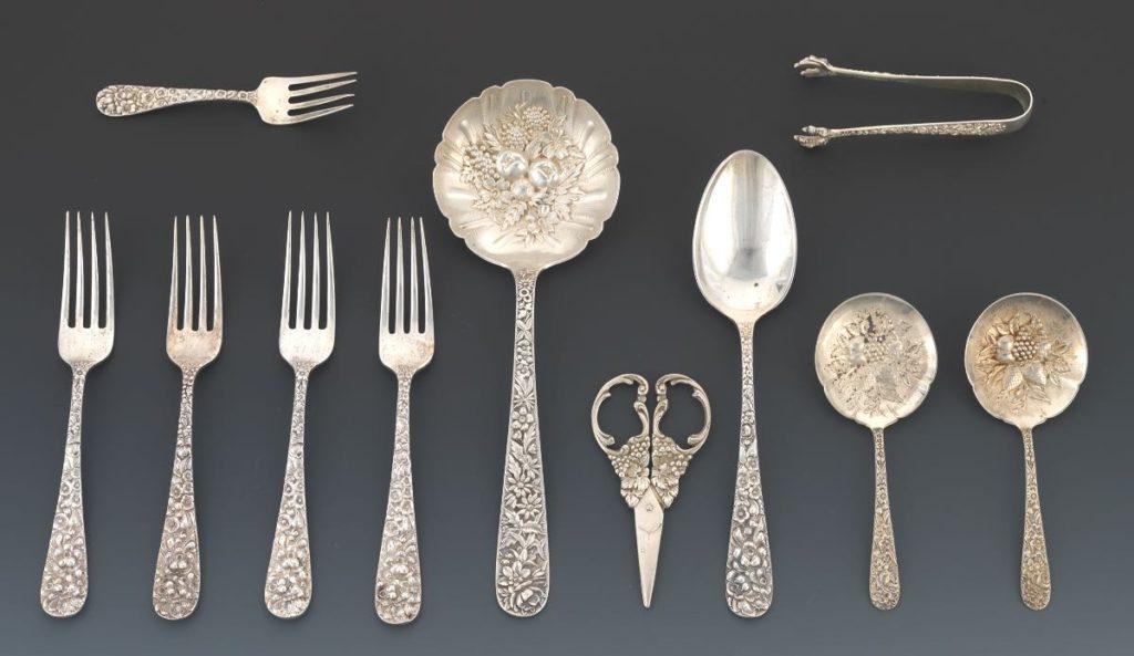 Repousse sterling silver flatware pattern